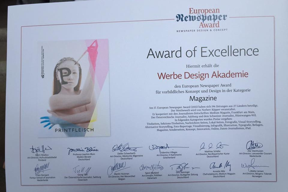 Award of Excellence Virginia Wilhelmer Werbe Design Akademie Innsbruck